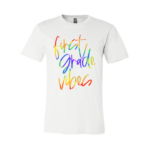 First Grade Vibes Tie Dye Font Tee