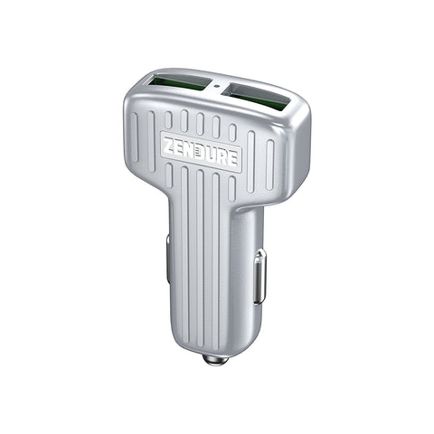 30W Car Charger with QC 3.0 and Dual USB - Silver