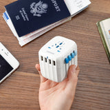 White Passport Auto-Resetting Global Travel Adapter