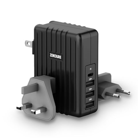 45W 4-Port USB-C PD Wall Charger - Black