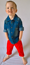 Load image into Gallery viewer, LAST CHANCE Oscar Denim Shirt and Red Pants - outfit ONLY