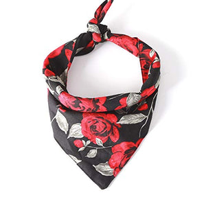 BingYELH Dog Bandana Bibs Pet Rose Print Scarf Triangle Head Scarfs Accessories Neckerchief for Small and Medium Dog