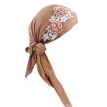 Load image into Gallery viewer, Women's Muslim Floral Scarf Hat Stretch Turban Head Scarves Pre-Tied Long Tail Headwear Bandana for Cancer Chemo