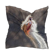 Load image into Gallery viewer, Silk Scarf Cute Bird Ostrich Square Headscarf 23 x 23 inches for Women