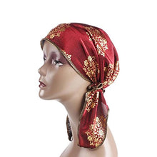Load image into Gallery viewer, Women's Muslim Floral Print Scarf Hat Stretch Turban Long Tail Headwear for Cancer Chemo