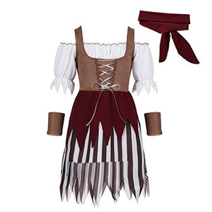 YiZYiF Little Pirate Costume Baby Girl Princess Bubble Sleeves Pirates Dress with Headscarf and Belt Set