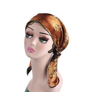 Women's Muslim Floral Print Scarf Hat Stretch Turban Long Tail Headwear for Cancer Chemo