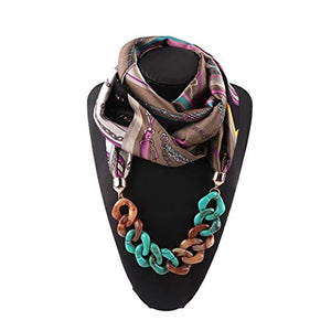 Loprt Satin Simulation Silk Scarf Chain Necklace Decoration Bib National Wind Ladies Clothing Accessories (Pink)