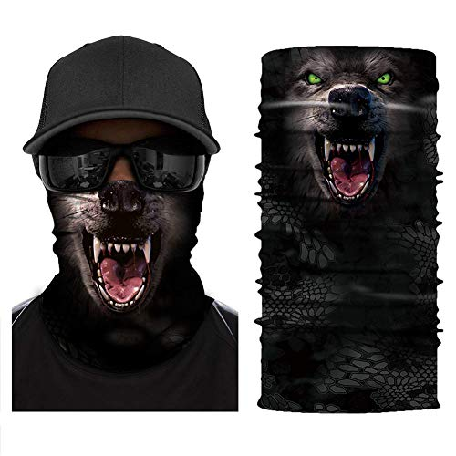 [NEW STYLE]3D Animal Neck Gaiter Warmer Windproof Face Mask Scarf, Microfiber Multifunctional Headwear for Motorcycle Riding