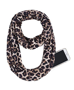 USAstyle Printed Women Infinity Scarf With Zipper Pocket or 2 Circle Scarves, Soft Stretchy Jersey