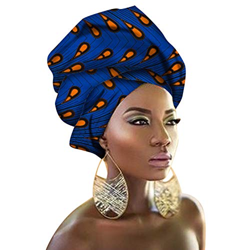 "Chien TJ08 Multi-Color Urban Ladies Hair Accessory Headband,Bazin Wax Print Wrap Tie Scarf, African Head Scarf Gele Ipele Extra Long 70""x20"""