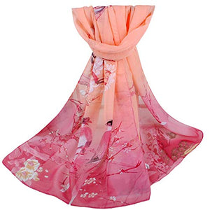 Women Soft Thin Chiffon Silk Animal Bird Printed Wrap Shawl Scarf Gifts Under 7 Dollars