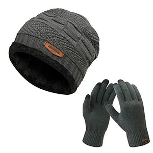 2-Pieces Winter Beanie Hat Scarf Set Warm Knit Hat Thick Fleece Lined Winter Hat & Scarf for Men Women