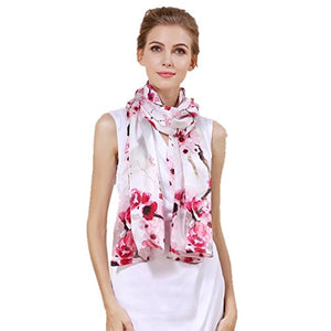Women's 100% Charmeuse Mulberry Silk Long Scarf For Gift Hair Ladies Shawls Floral And Butterfly Scarves