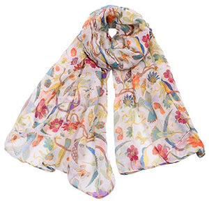Ruanyi Spring, Summer And Autumn Fashion Animal Silk Scarf, Female Hummingbird, Sun Flower Print Scarf Women
