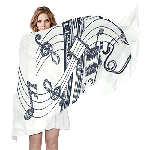 Women Silk Scarf Retro Audio Cassette Music Note Personalized for Women Vacation Winter Decor