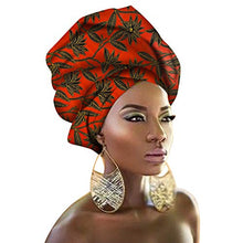 "Load image into Gallery viewer, Chien TJ08 Multi-Color Urban Ladies Hair Accessory Headband,Bazin Wax Print Wrap Tie Scarf, African Head Scarf Gele Ipele Extra Long 70""x20"""