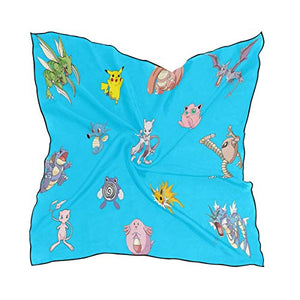 Silk Scarf Cute Sealife Square Headscarf 23 x 23 inches for Women