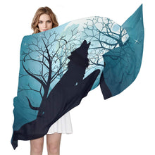 Load image into Gallery viewer, Wolf Howling Full Moon Forest Night Women's Silk Scarf Long Lightweight Shawl Wrap Fashion Printed Scarves for Ladies 6'x 3'