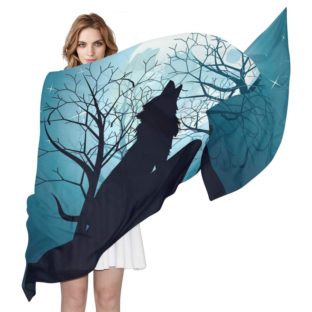 Wolf Howling Full Moon Forest Night Women's Silk Scarf Long Lightweight Shawl Wrap Fashion Printed Scarves for Ladies 6'x 3'