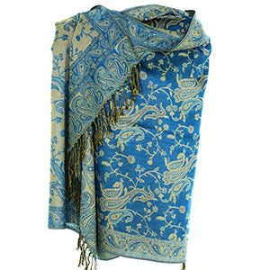 Silver Fever Pashmina - Jacquard Paisley Shawl - Stylish Scarf - Double Sided Wrap