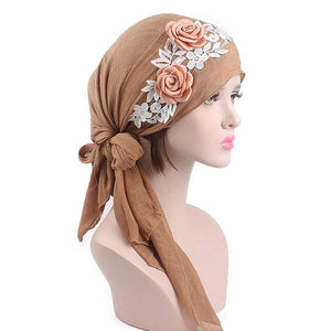 Women's Muslim Floral Scarf Hat Stretch Turban Head Scarves Pre-Tied Long Tail Headwear Bandana for Cancer Chemo