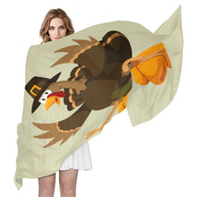 "Load image into Gallery viewer, Women's Scarf Silk Scarf Blanket Lightweight Scarves Fashion Neck Scarf Poncho with Funny Thanksgiving Turkey And Pumpkin Shawl Wrap 70""x 35"""