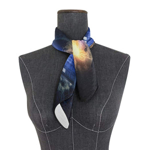 Cute Blue Penguins Scarf Womens Square Silk Scarves Shawl Wrap Neckerchief for Lady Girls