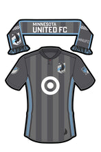 Load image into Gallery viewer, Minnesota United FC Sticker - Team Jersey and Scarf. Vinyl, Die-Cut, 3.5 inch, Custom Designed Decal & Gift. Use on Water Bottles, Laptops, Coolers, Car and Truck Bumper. Major League Soccer (MLS)