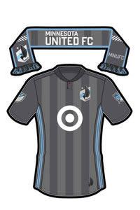Minnesota United FC Sticker - Team Jersey and Scarf. Vinyl, Die-Cut, 3.5 inch, Custom Designed Decal & Gift. Use on Water Bottles, Laptops, Coolers, Car and Truck Bumper. Major League Soccer (MLS)