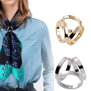 2 PCS Silver and Gold Luxury Stylish Scarf Ring Buckle Modern Simple Triple Side Silk Scarves Neckerchief Kerchief Knotting Clasp Ring Wrap Holder for Lady Women Girls