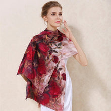 Load image into Gallery viewer, Women's 100% Charmeuse Mulberry Silk Long Scarf For Gift Hair Ladies Shawls Floral And Butterfly Scarves