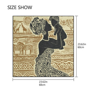Silk Scarf African Woman And Her Baby Square Headscarf 23 x 23 inches for Women/Girls