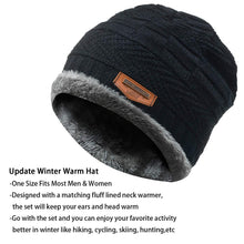 Load image into Gallery viewer, 2-Pieces Winter Beanie Hat Scarf Set Warm Knit Hat Thick Fleece Lined Winter Hat & Scarf for Men Women