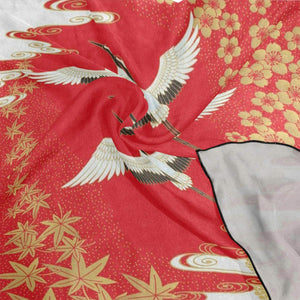 Silk Scarf Japanese Style Crane Square Headscarf 23 x 23 inches for Women/Girls
