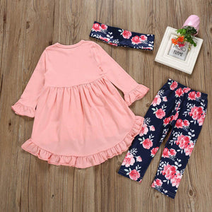 LNGRY Baby Outfits,Toddler Infant Kid Girls Fashion Irregular Ruffle Dress Top+Floral Pants+Scarf Sets