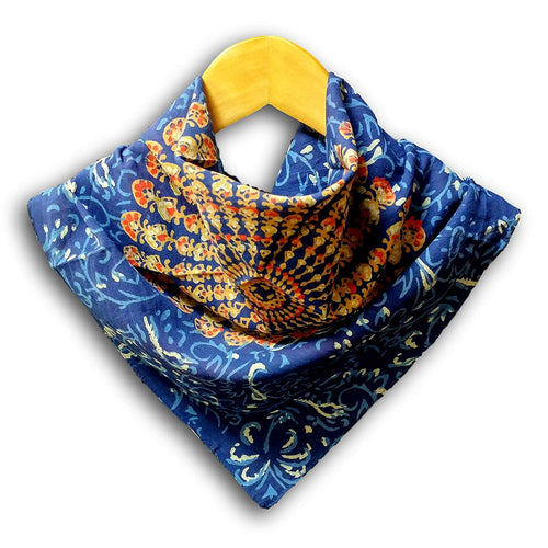 Homestead Women's Fashion Lightweight Floral Scarf Print Sheer Soft 100% Cotton Neck Head Scarf (Blue, 21 x 21 inches)