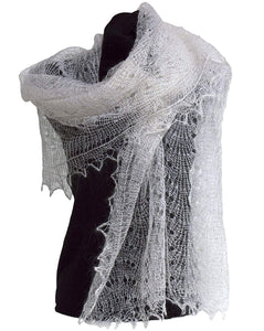 Fedelkea Orenburg Scarf Wrap Lace Knitted Wool Goat Down Russian Handmade
