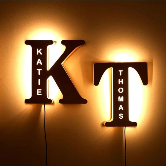 Customized Personalized Wooden Night Light With  Letters & Name