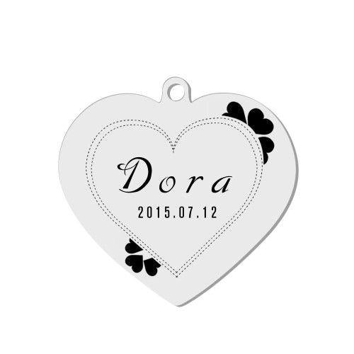 Engraved Pet Tag Heart Shape Silver Stainless Steel