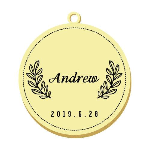 Engraved Pet Tag Round Simple Style Gold Plated Stainless Steel