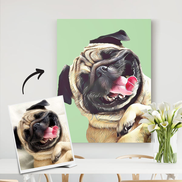 Custom Pet Canvas-Pet Portrait Artist-DIY frame