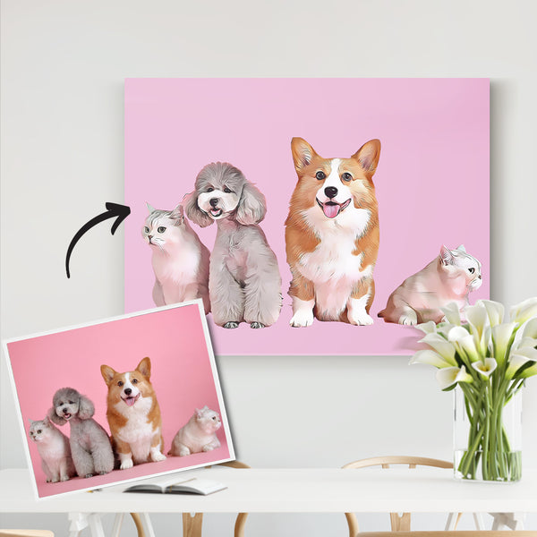 Custom Pet Canvas-Pet Portrait From Your Photo