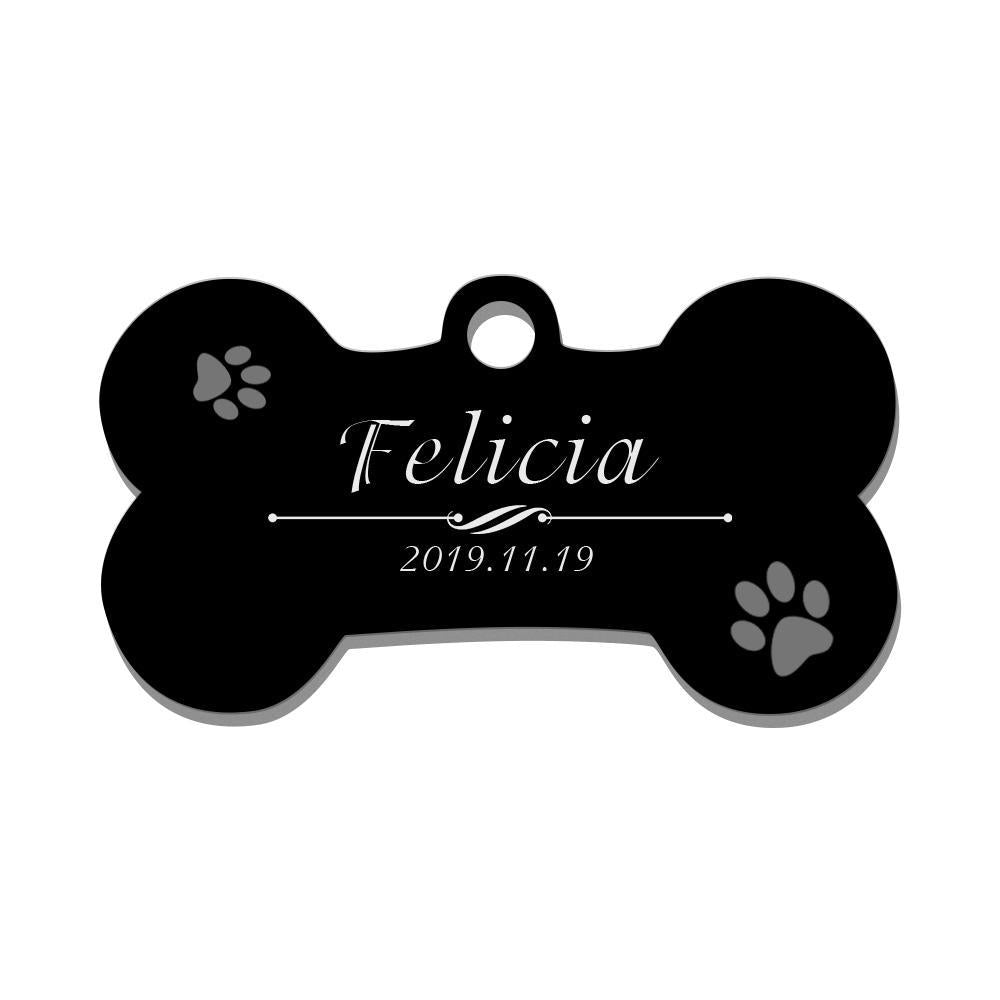 Custom Engraved Pet Tag Bone Cute Black Stainless Steel Dog Tag