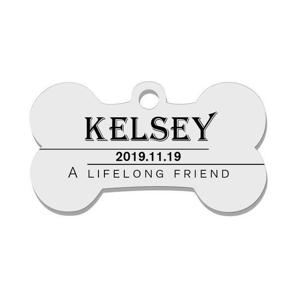 Custom Engraved Pet Tag Bone Simple Style Black Stainless Steel Dog Tag