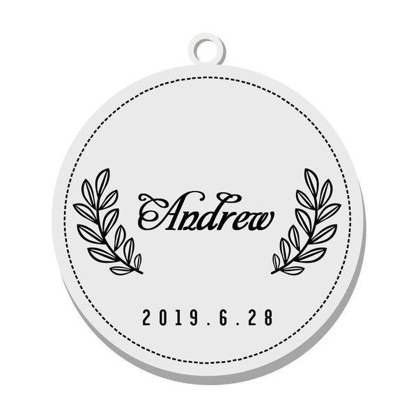 Custom Engraved Pet Tag Round Simple Style Black Stainless Steel Dog Tag