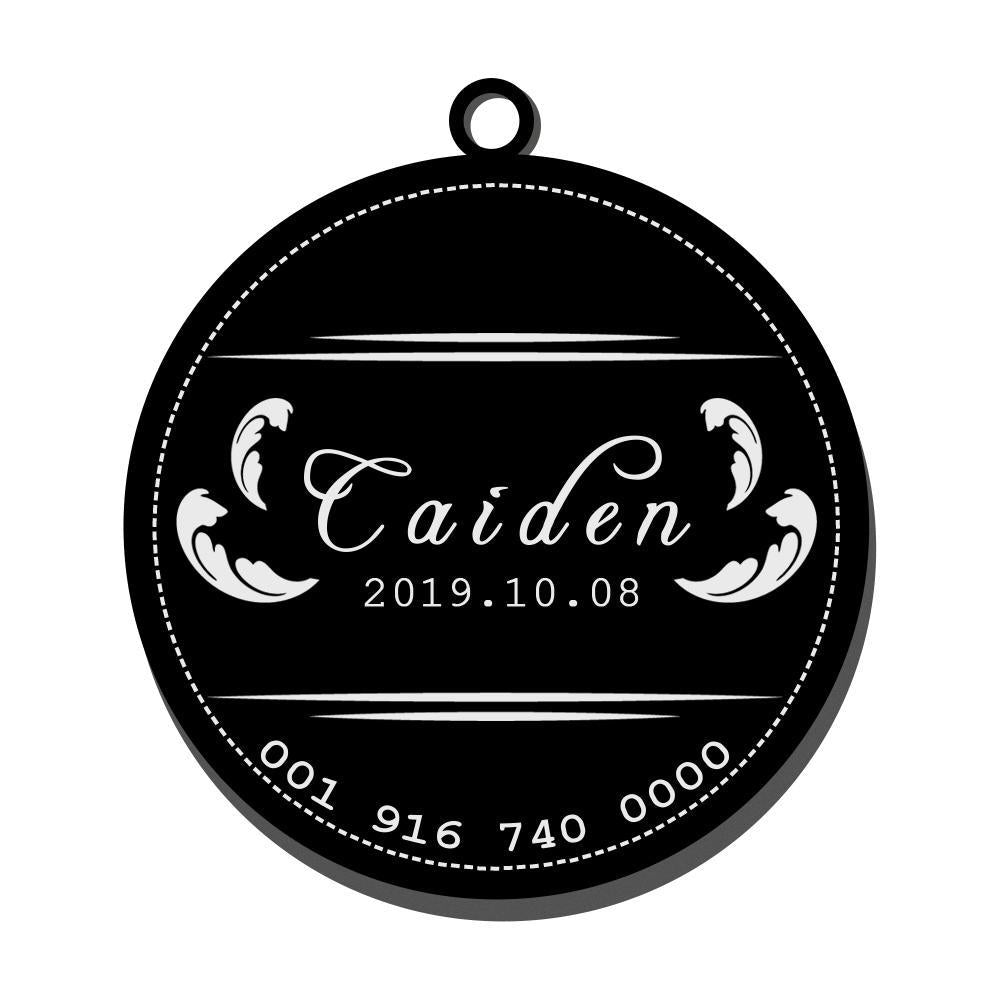 Custom Engraved Pet Tag Round Cool Black Stainless Steel Dog Tag