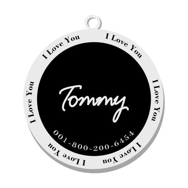 Personalized Engraved Pet Tag Round Fashion Black Stainless Steel Dog Tag
