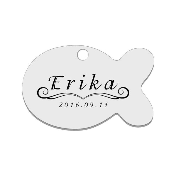 Personalized Engraved Pet Tag Fish Black Stainless Steel Dog Tag