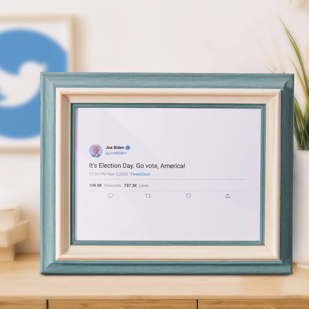 Custom Twitter Photo Painting Canvas with Green Framed  Personalized Wall Decoration